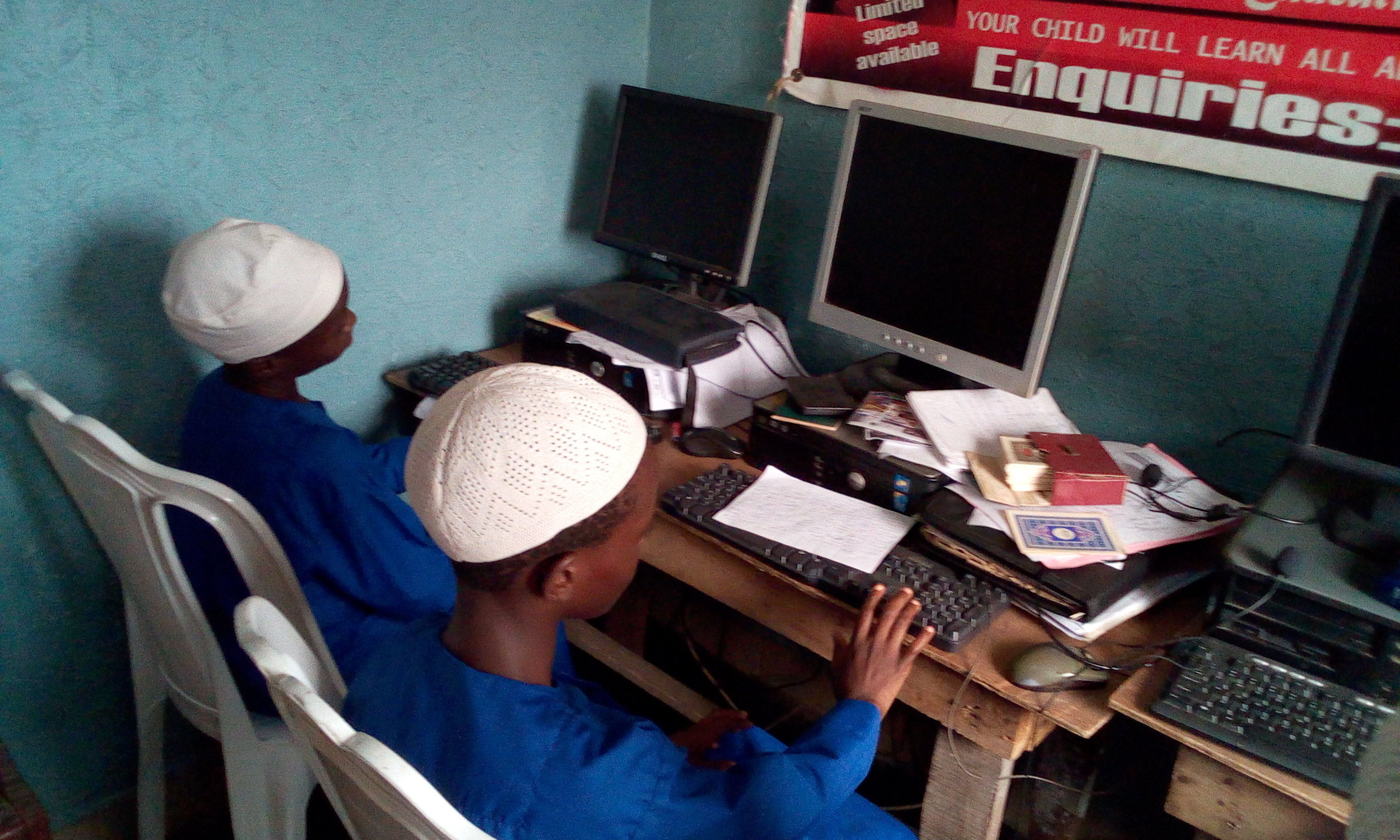 ABD RAHMAN AKINTUNDE AND HABEEB ADEWALE ARE IN COMPUTER LAB IN THE HOSTEL